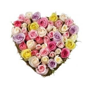 Inviare online cuore rose pastello