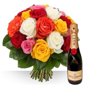 Inviare online Rose Colorate e Champagne