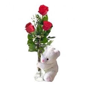 Inviare online tris di rose rosse con peluche
